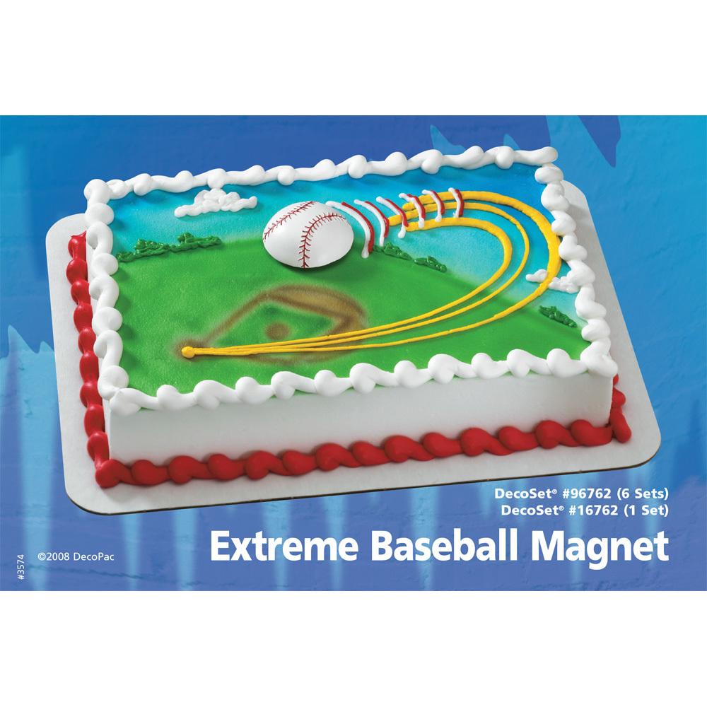 Extreme Baseball Magnet DecoSet® 1/4 Sheet Cake Decorating Instructions
