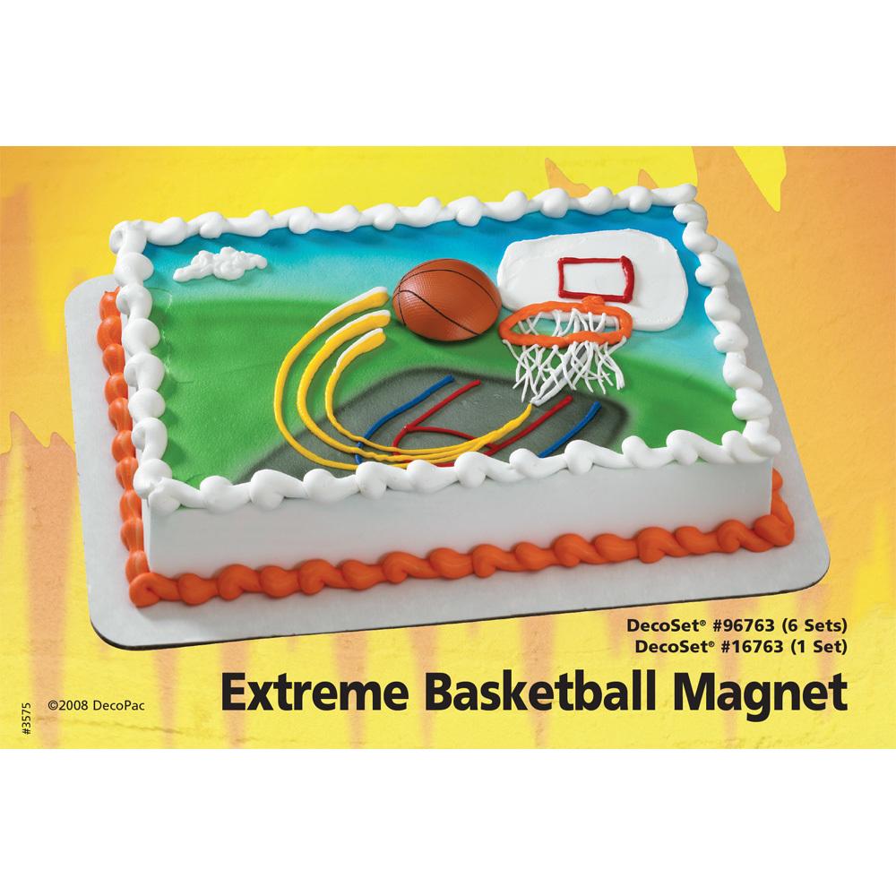Extreme Basketball Magnet DecoSet® 1/4 Sheet Cake Decorating Instructions