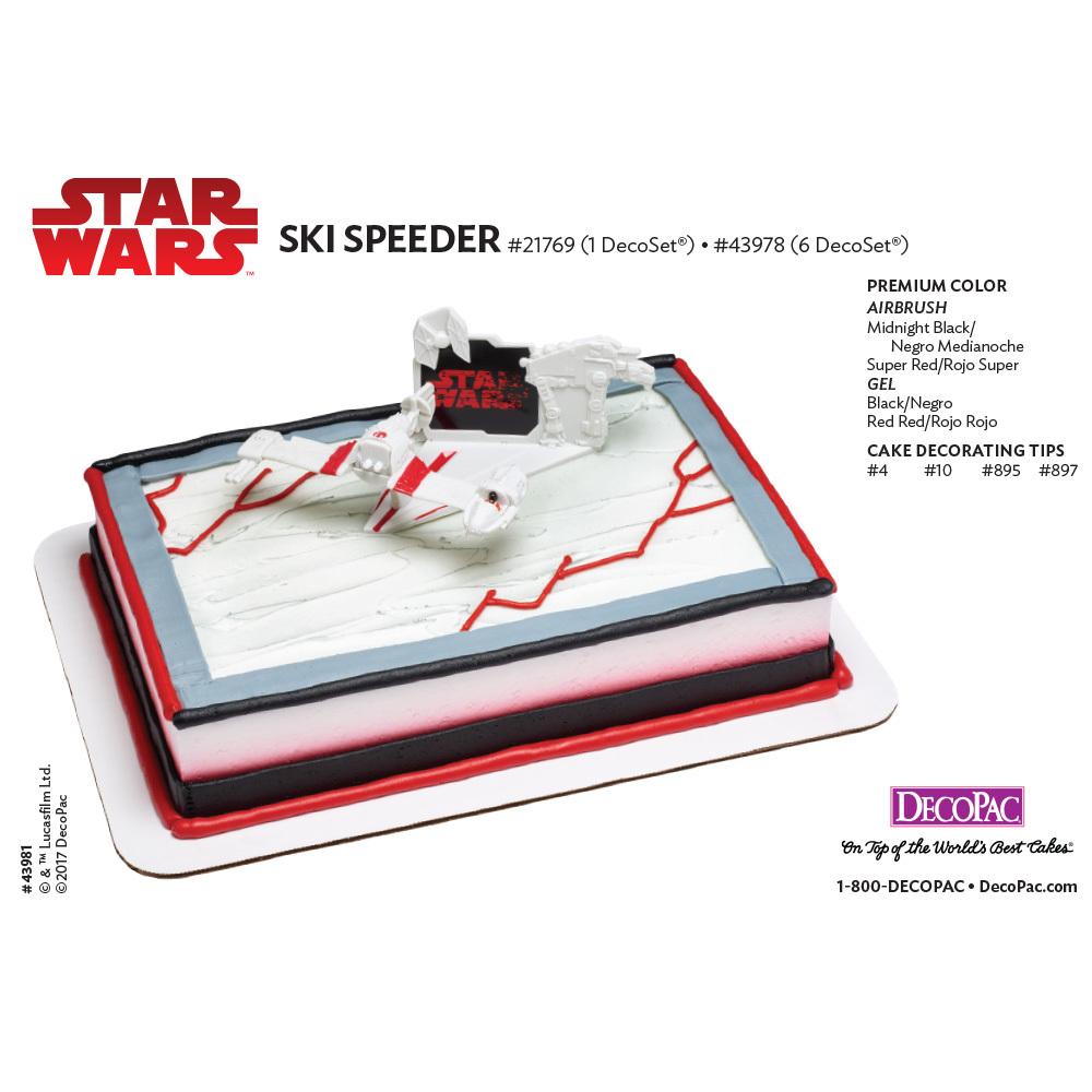 Star Wars™: The Last Jedi Ski Speeder DecoSet® 1/4 Sheet Cake Decorating Instructions