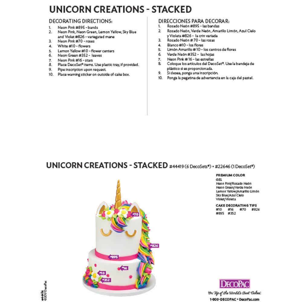 Unicorn Creations DecoSet® Stacked Cake Decorating Instruction Card
