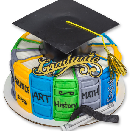 How-to Make a Stacked Books Round Graduation Cake