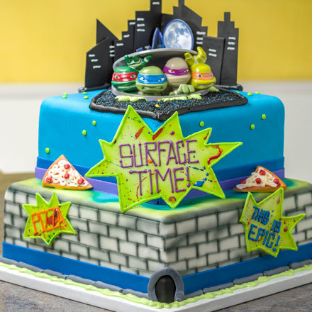 How-to Make a 2-Tier Teenage Mutant Ninja Turtles in the City Cake
