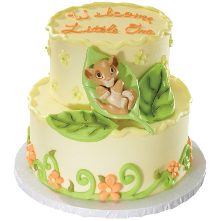 How-To Make a Lion King Baby Simba 2-Tier Baby Shower Cake