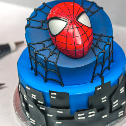 How-to Make a 2-Tier Spider-Man Cake