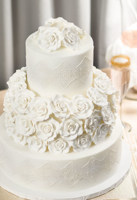 How-To Make a Classic Flowers & Lace Wedding Cake
