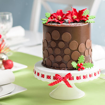 How-To Make a Christmas Poinsettia Chocolate Dot Cake
