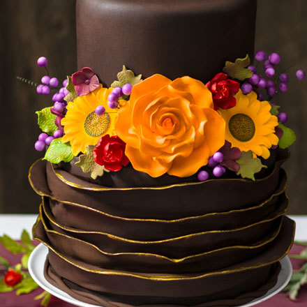How-to Make a Fall Wedding Chocolate Ruffle Cake