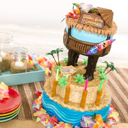 How-To Make a Tiki Hut Cabana Cake