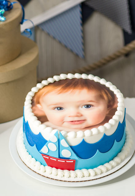 How-To Make a Nautical First Birthday Photo Cake