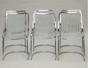 Set Of Six Mid Century Chrome Wire Back Chairs