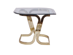 Mid Century Brass And Glass Side Table By Pierre Cardin