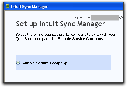 choose qb company to sync