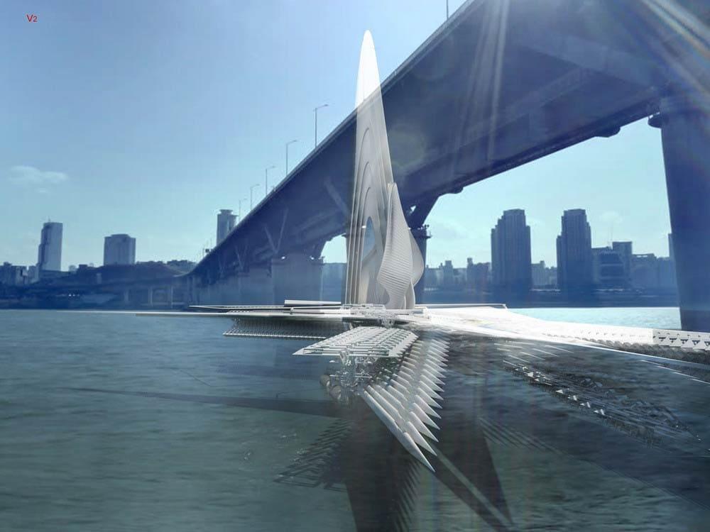 Revolving Sail Bridge by Margot Krasojević Architects