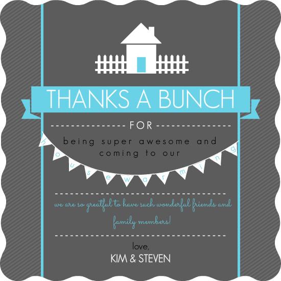 Bright Blue and Dark Gray Housewarming Thank You Card