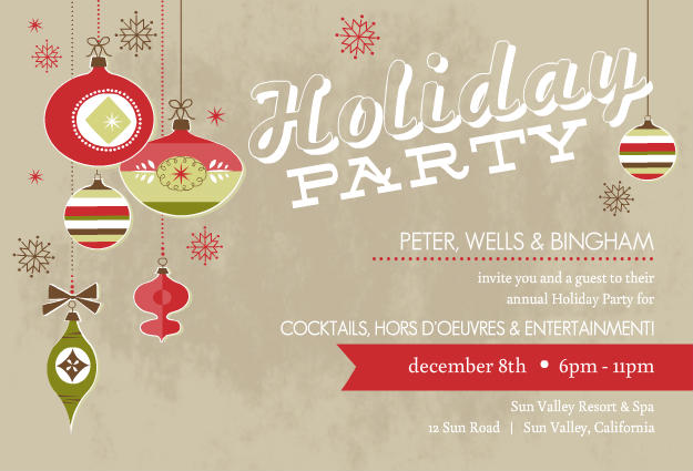 Company Holiday Party Invitations Business holiday party