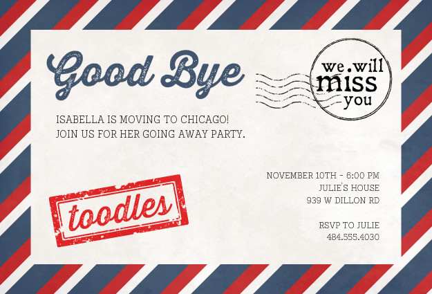 Going Away Party Invitation with good invitations design