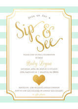 Stunning Faux Gold Heart Gender Reveal Invitation