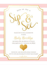 Pink Chic Faux Foil Sip and See Invitation