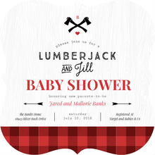 Red Buffalo Plaid Baby Shower Invitation