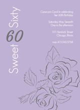 Sweet Rose Outline 60th Birthday Invitation