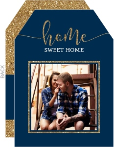 Faux Gold Glitter & Blue Moving Photo  Announcement