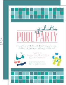 Turquoise Tile Pool Party Graduation Invitation
