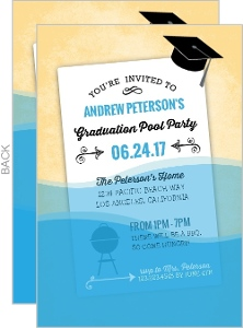 Fun Wet Paper Graduation Pool Party Invitation
