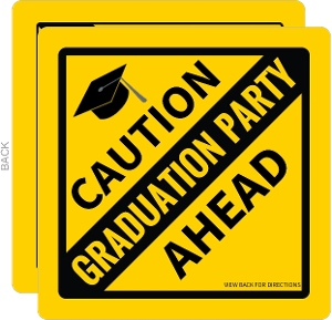 Caution Sign Open House Graduation Party Invitation