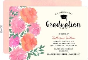 Peony Garden Graduation Party Invitation