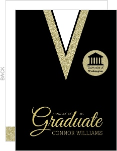 Black and Gold Gown Graduation Announcement