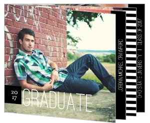 Black & White Stripe Graduation Announcement