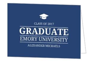 Simple Classic Blue Graduation Invitation Card