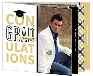 Unique Black & Gold Graduation Booklet Invitation