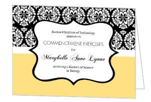 Yellow on Black Floral Graduation Announcement Card