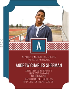 Chevron Monogram Graduation Party Invitation