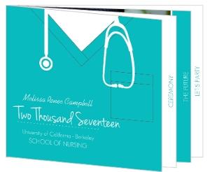 Turquoise Scrubs Nursing Graduation Invitation