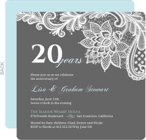 Blue-Gray White Lace Anniversary Invitation