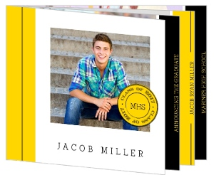 Clean Modern Yellow & Black Graduation Invitation