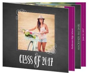 Bright Purple & Chalkboard Graudation Booklet Announcement