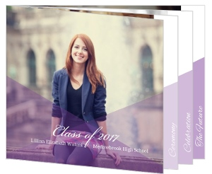 Geometric Lavender Purple Graduation Booklet Invitation
