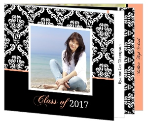 Black Damask and Peach Graduation Booklet Announcement