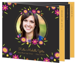 Pretty Little Floral Graudation Booklet Invitation