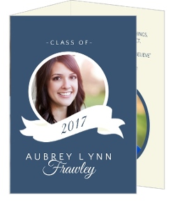 Classic Blue & White Banner Graduation Announcement Card