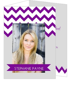 Modern Purple Chevron Pattern Graduation Announcement