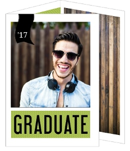 Modern Bright Green & Black Graduation Announcement