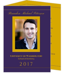Purple and Gold Dental Graduation Announcement