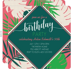 Tropical Palms Birthday Invitation