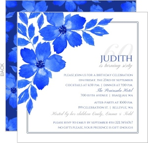 Elegant Blue Floral Watercolor 60th Birthday Invitation