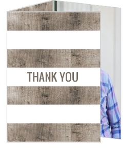 Woodgrain Rustic Monogram Graduation Thank You Card