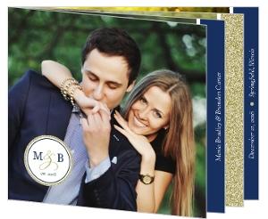Faux Elegant Gold Glitter Booklet Wedding Invitation